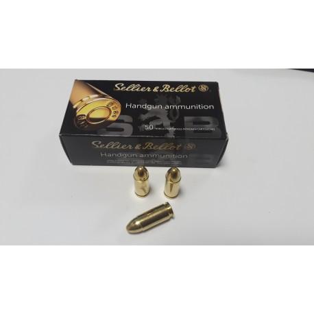 Патроны спортивные Sellier & Bellot пуля FMJ 9мм (9х19) 8,0r/124гран